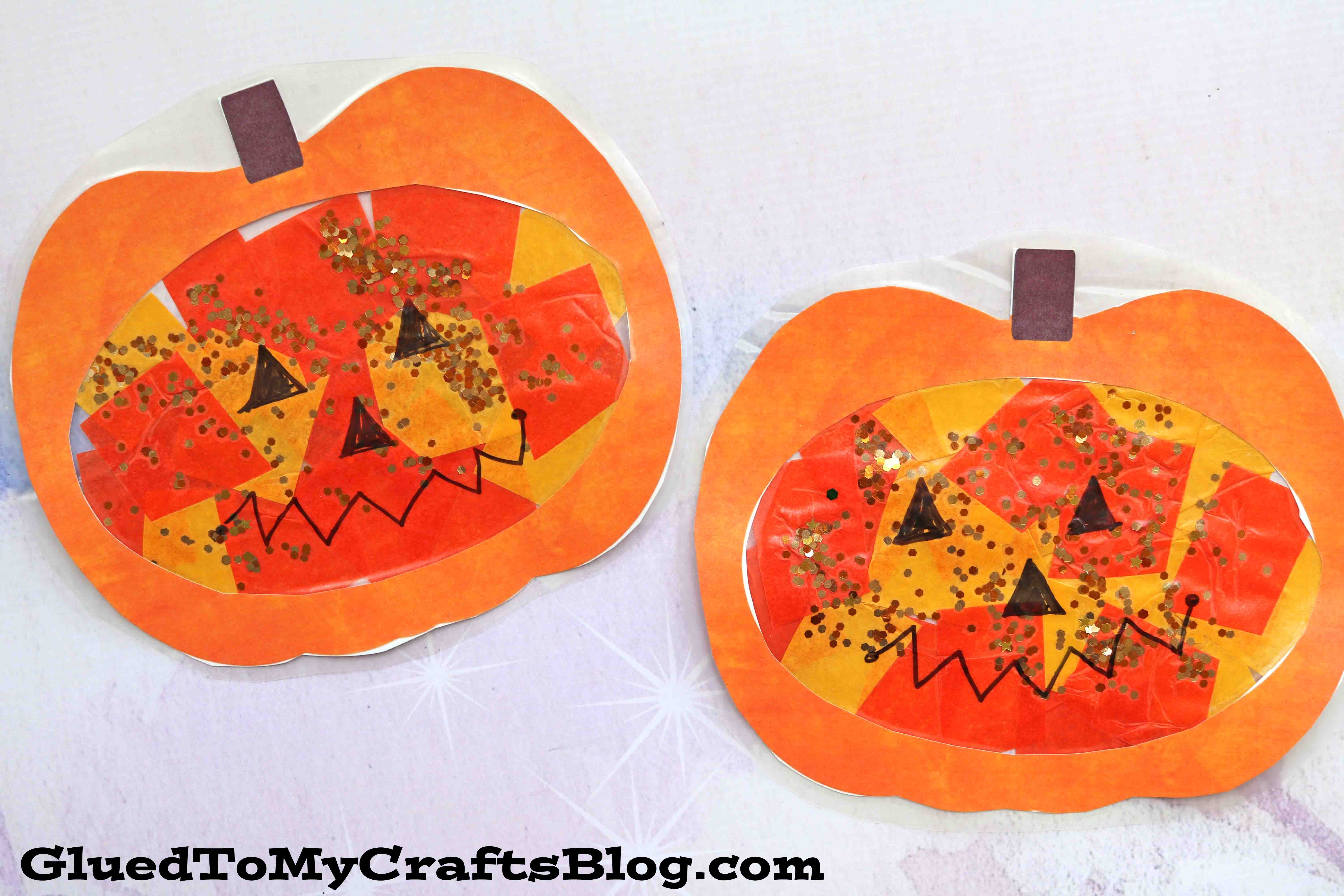 Super Easy Stained Glass Pumpkins Kid Craft Idea For Fall