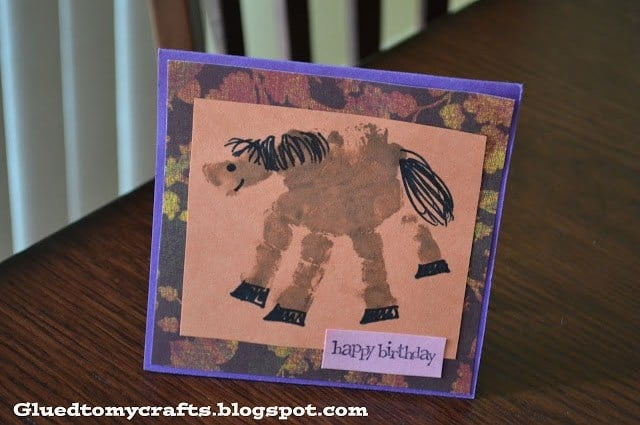 Handprint Horse Keepsake Card - Glued To My Crafts