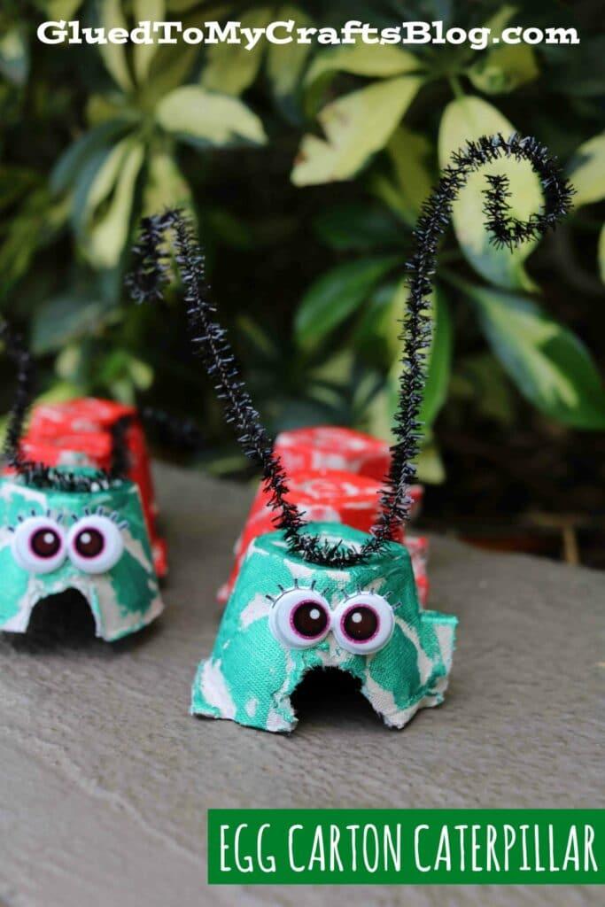 Recycled Egg Carton Caterpillar - Kid Craft Idea For Spring