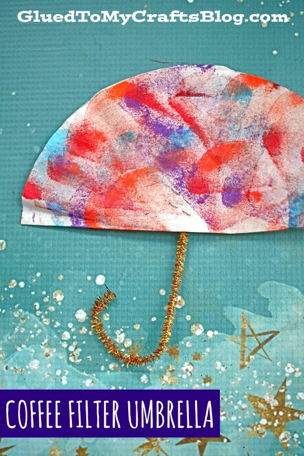 Coffee Filter Umbrellas - Kid Craft Idea For A Rainy Day