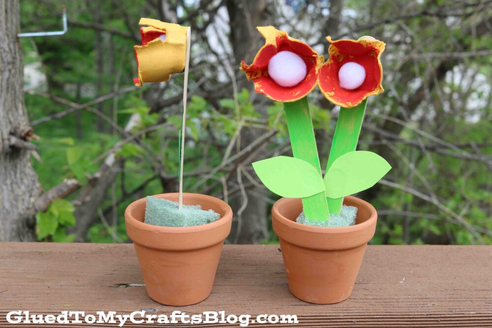 Upcycled Egg Carton Flowers - Kid Craft For Spring