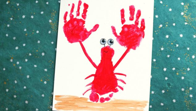 Footprint & Handprint Lobster Keepsake Idea For Kids
