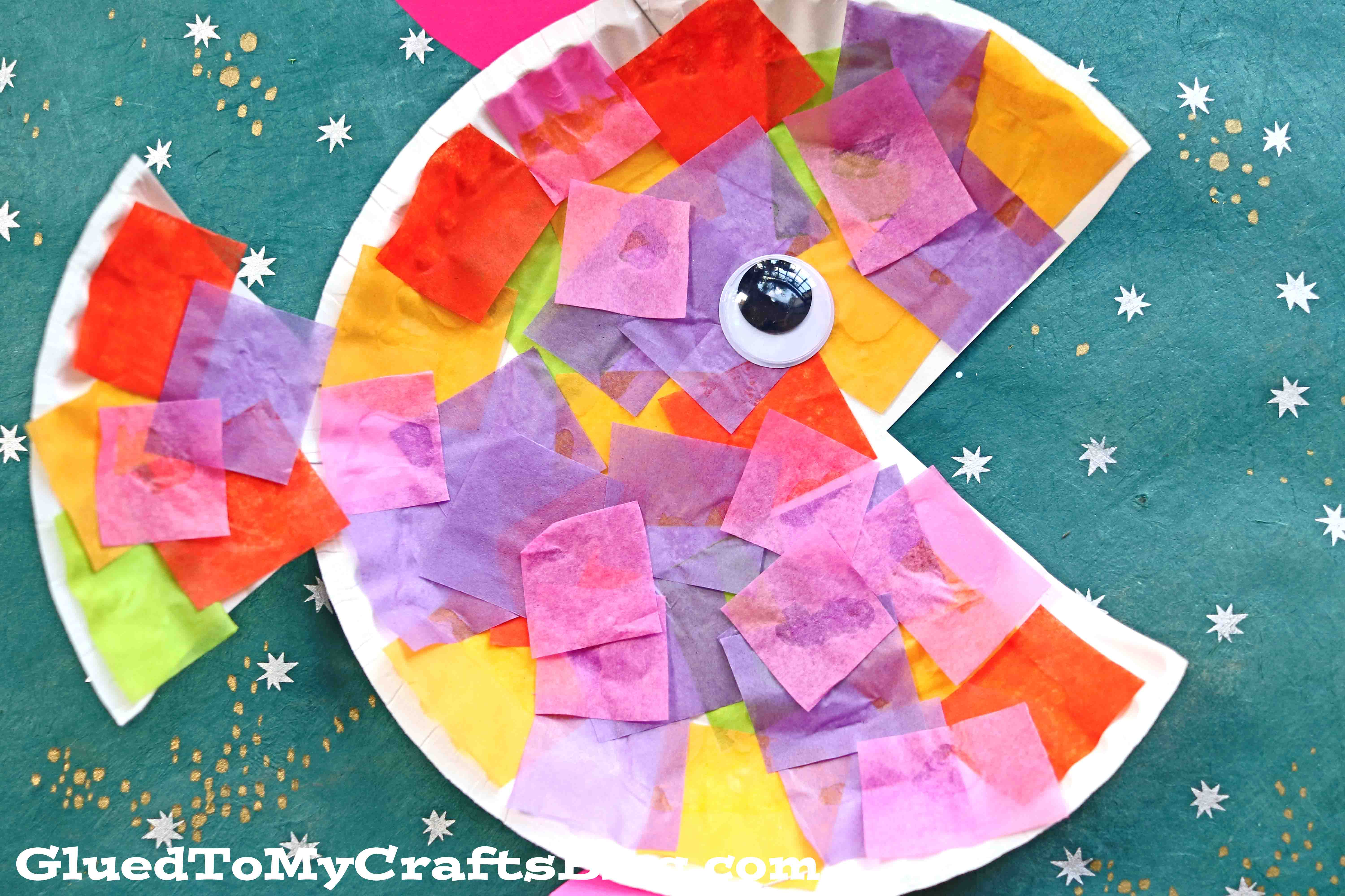 Paper Plate Tissue Paper Tropical Fish Kid Craft