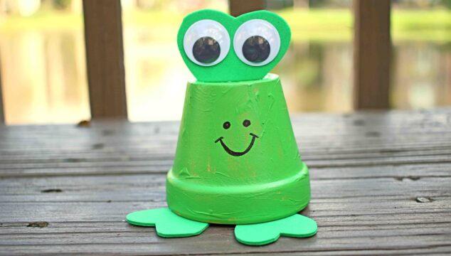 Terra Cotta Pot Frog Decor Piece Made By Kids