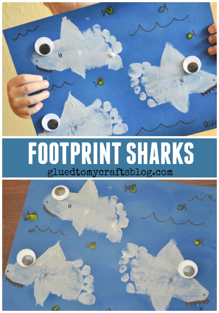 Footprint Sharks Keepsake - Shark Week Kid Craft