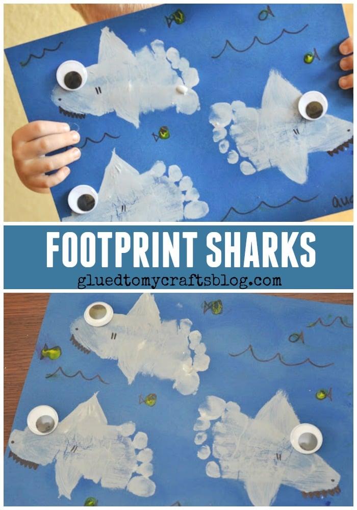 Footprint Sharks Keepsake Shark Week Kid Craft Glued To My Crafts