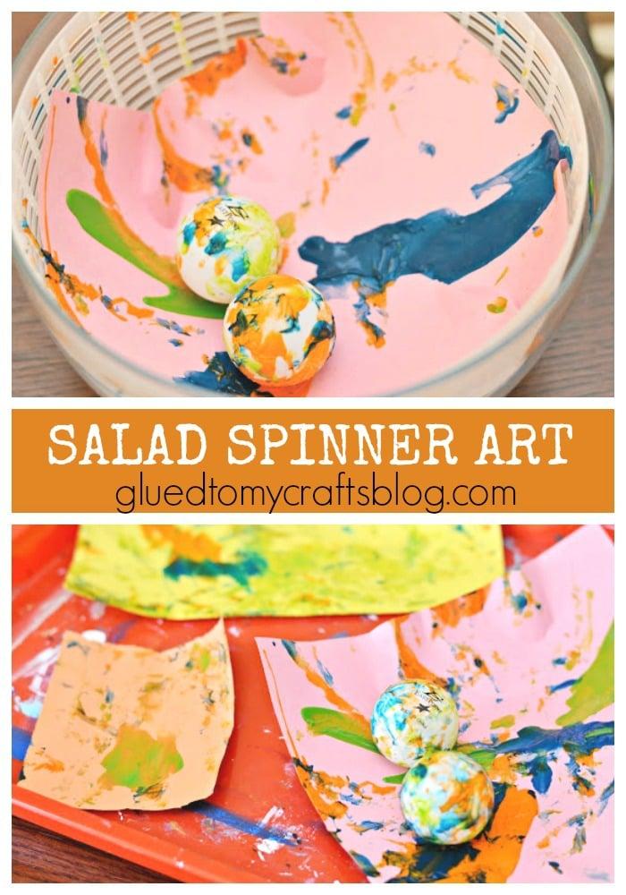 Paper & Salad Spinner Art - Boredom Buster Kid Craft Idea