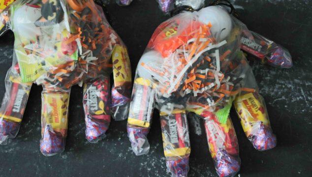 DIY Halloween Monster Hand Treat Bags