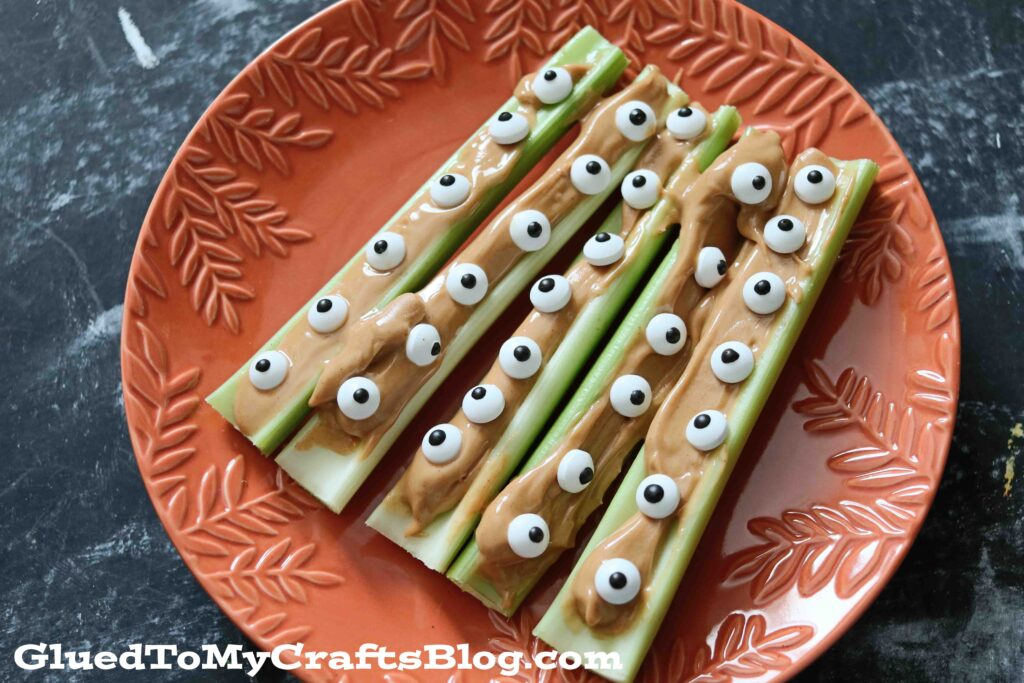 Monster Eyeball Celery Sticks - Halloween Snack Idea For Kids