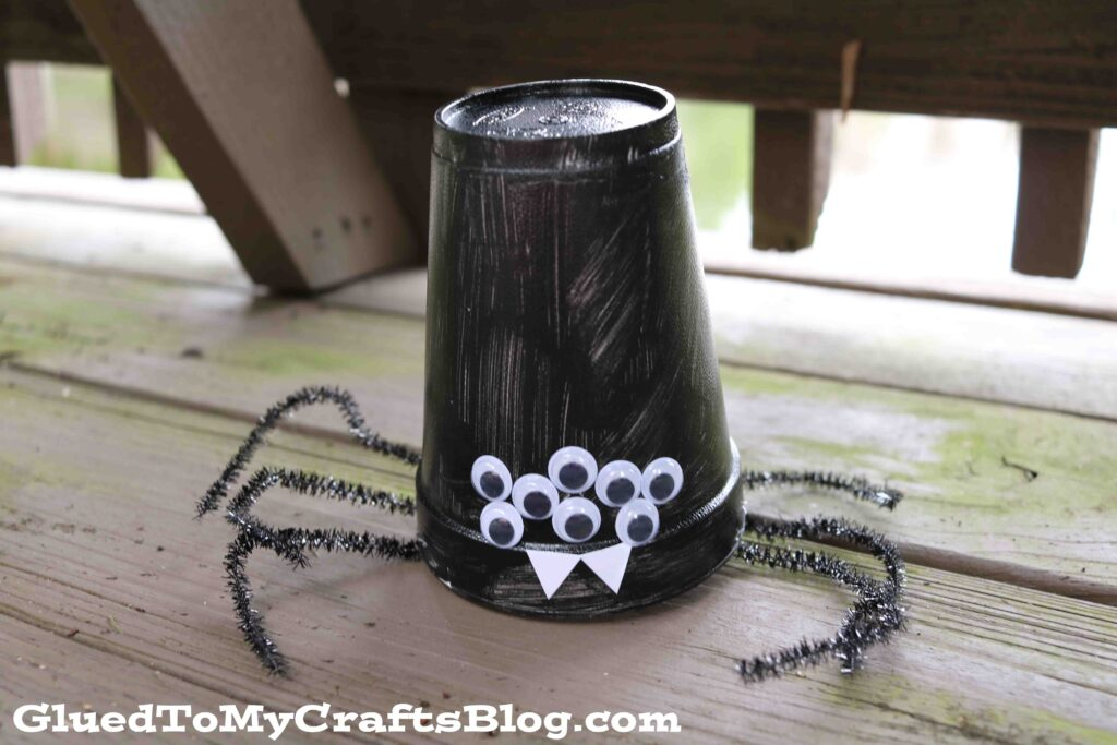 Creepy Crawly Styrofoam Cup Spiders - Halloween Kid Craft