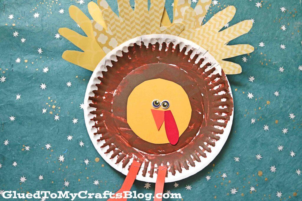 Paper Plate Turkey w/Handprint Feathers - Kid Craft