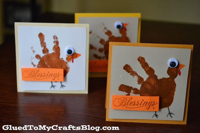 handprint turkey cards for kids to make this Thanksgiving