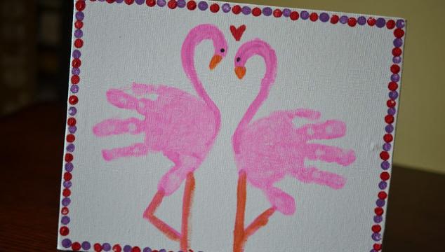 Handprint Flamingo Keepsake Canvas - Glued To My Crafts
