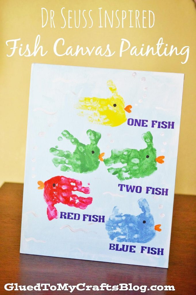 Dr Seuss Inspired Fish Canvas Painting - Kid Craft Idea