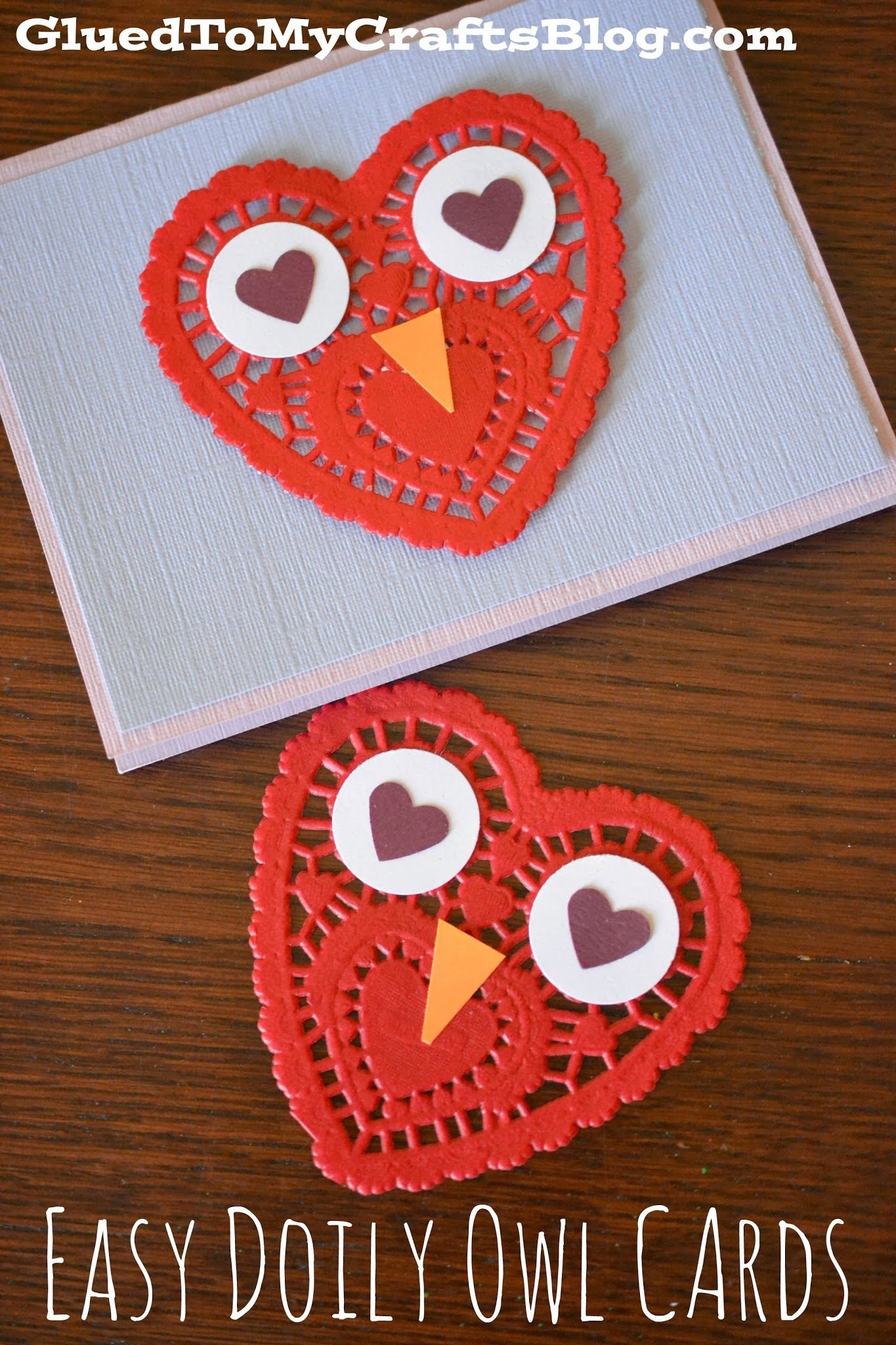 Easy Paper Heart Doily Owl Cards For Valentine's Day