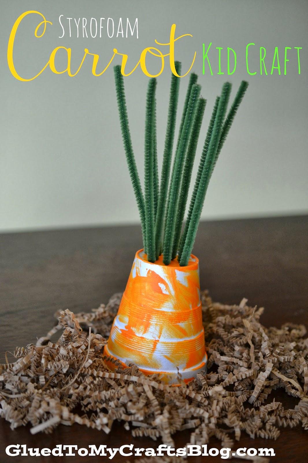 Styrofoam Cup Carrot - Spring Kid Craft Idea