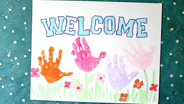 Painted Handprint Spring Welcome Sign {Kid Craft}