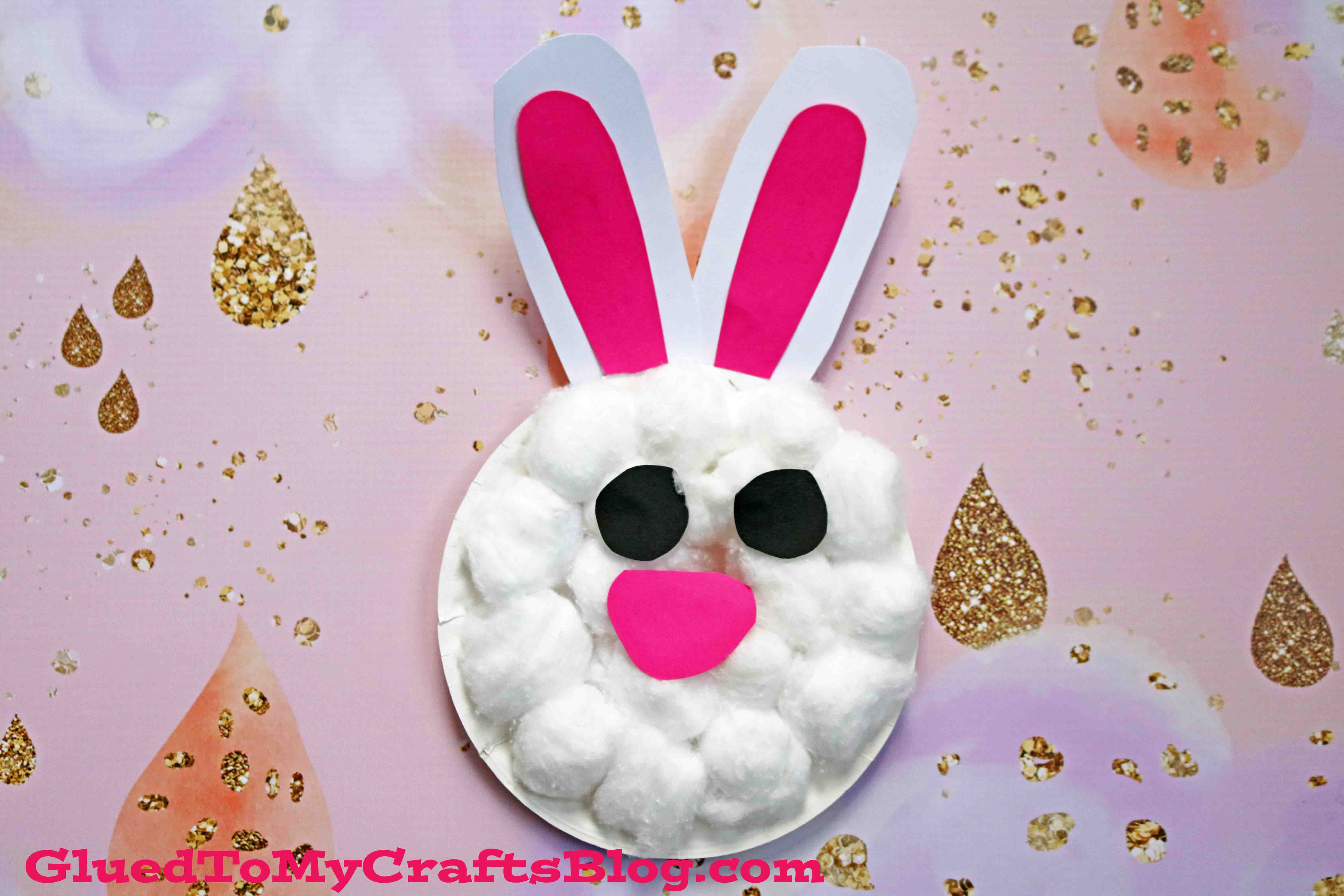 Paper Plate & Cotton Ball Bunny - Easter Kid Craft Idea