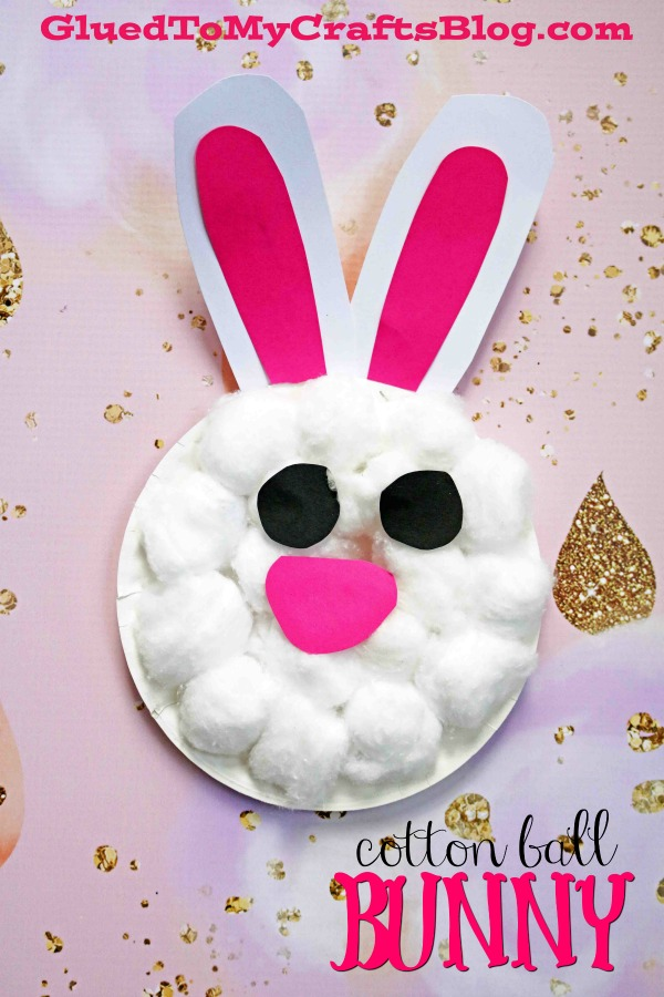 Paper Plate & Cotton Ball Bunny - Kid Craft Idea