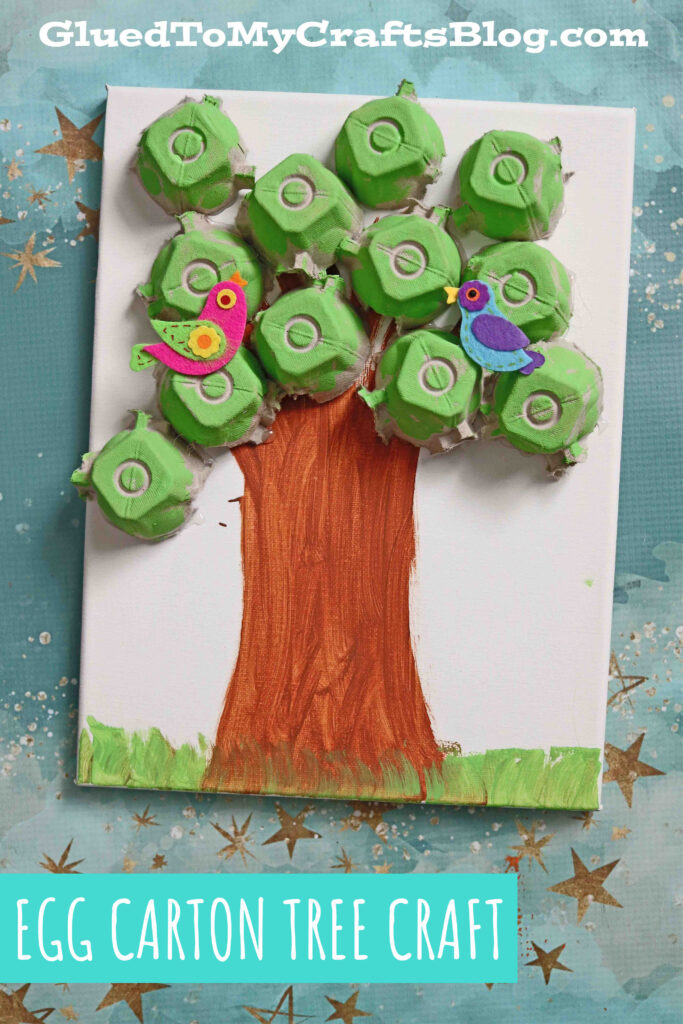 Recycled Egg Carton Tree Canvas - Earth Day Kid Craft Idea