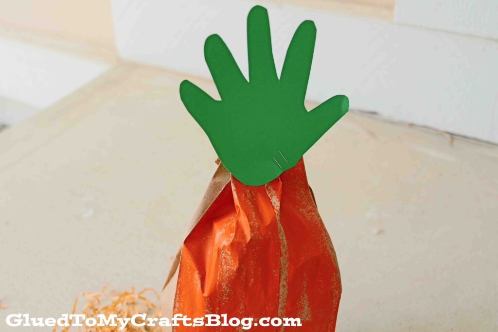 Handprint Paper Bag Carrot - Easter Kid Craft Idea