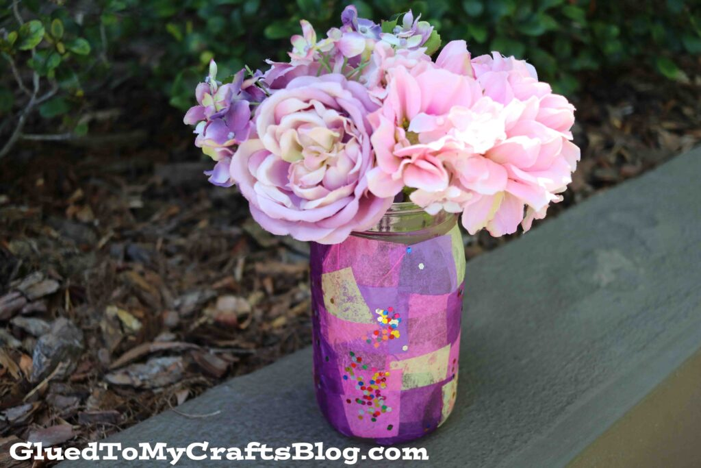 Tissue Paper Mosaic Mason Jar Vase - Kid Craft