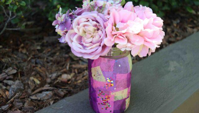 Tissue Paper Mosaic Mason Jar Vase - Kid Craft