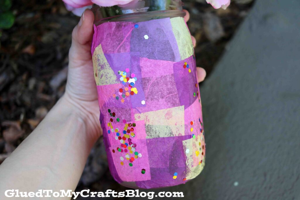 Tissue Paper Covered Mosaic Mason Jar Vase - Kid Craft Idea