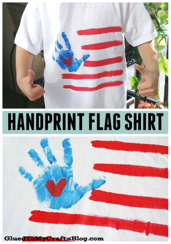 DIY Handprint Flag Patriotic Shirt {Craft}