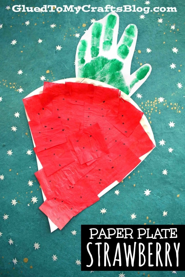 Paper Plate Strawberry - Kid Craft Idea For National Strawberry Month