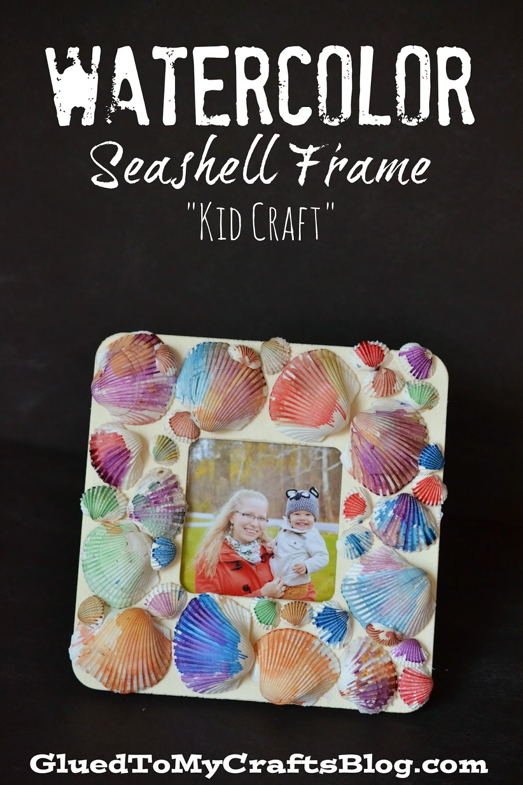 DIY Watercolor Seashell Frame - Kid Craft Tutorial For Summer
