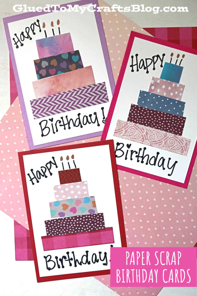 Handmade Paper Scrap Birthday Cards - Craft Idea