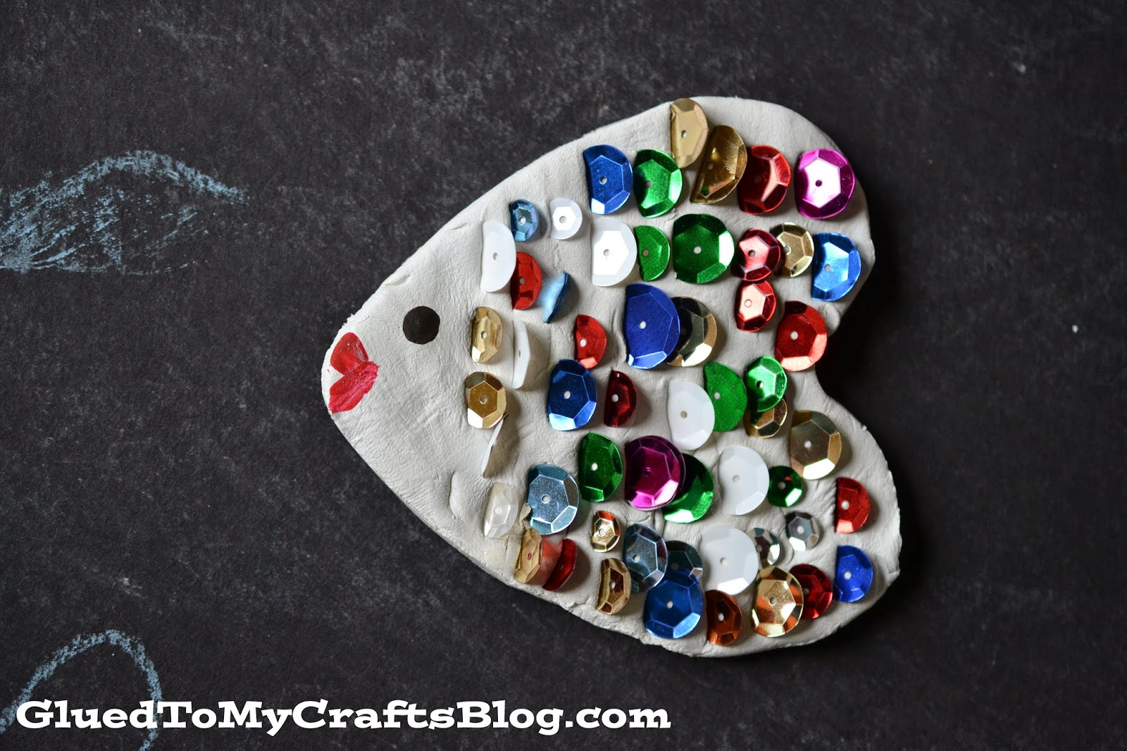 Sequined Clay Fish Craft For Kids To Make This Summer