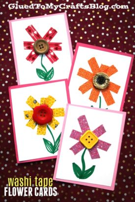 Washi Tape Flowers Cards {Crafts}