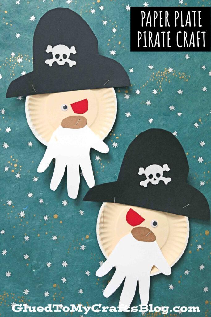 Paper Plate Pirate w/Handprint Beard - Summer Kid Craft Idea