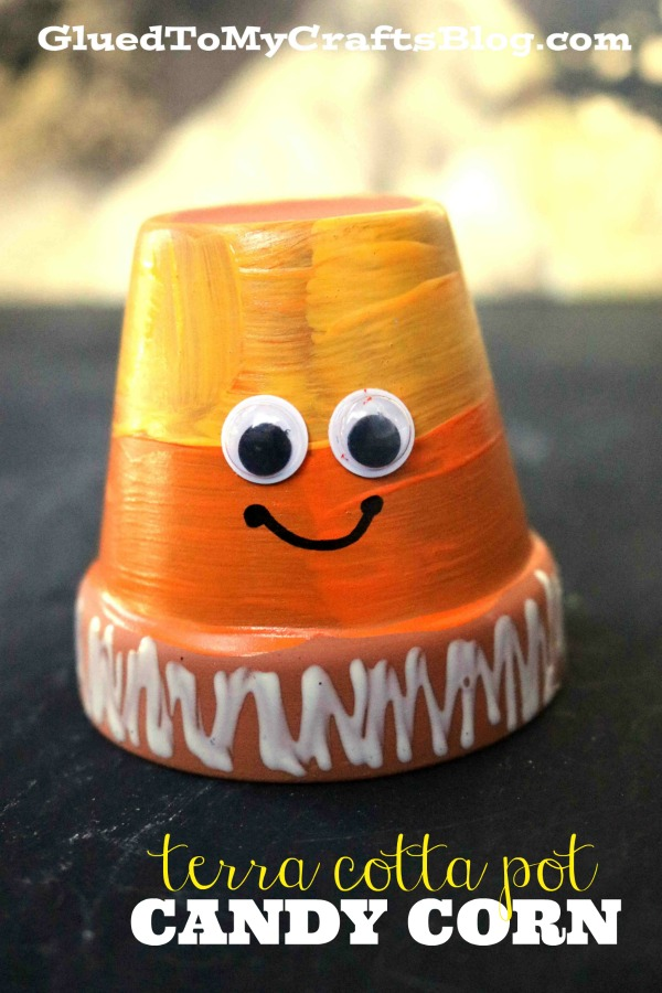 Terra Cotta Pot Candy Corn Friend - Halloween Kid Craft