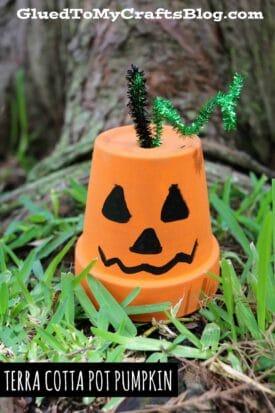 Terra Cotta Pot Pumpkin - Kid Craft Idea For Fall