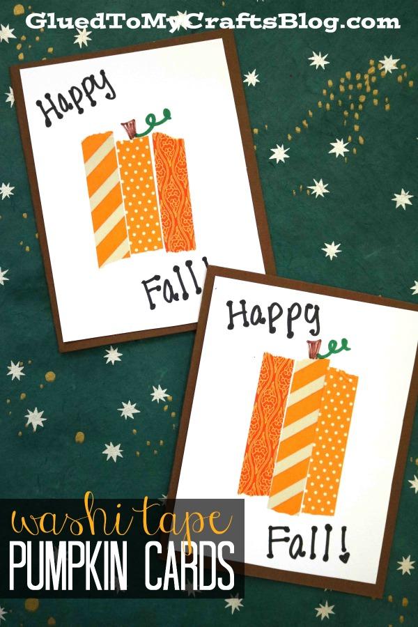 DIY Washi Tape Pumpkin Cards - Craft Tutorial For Kids