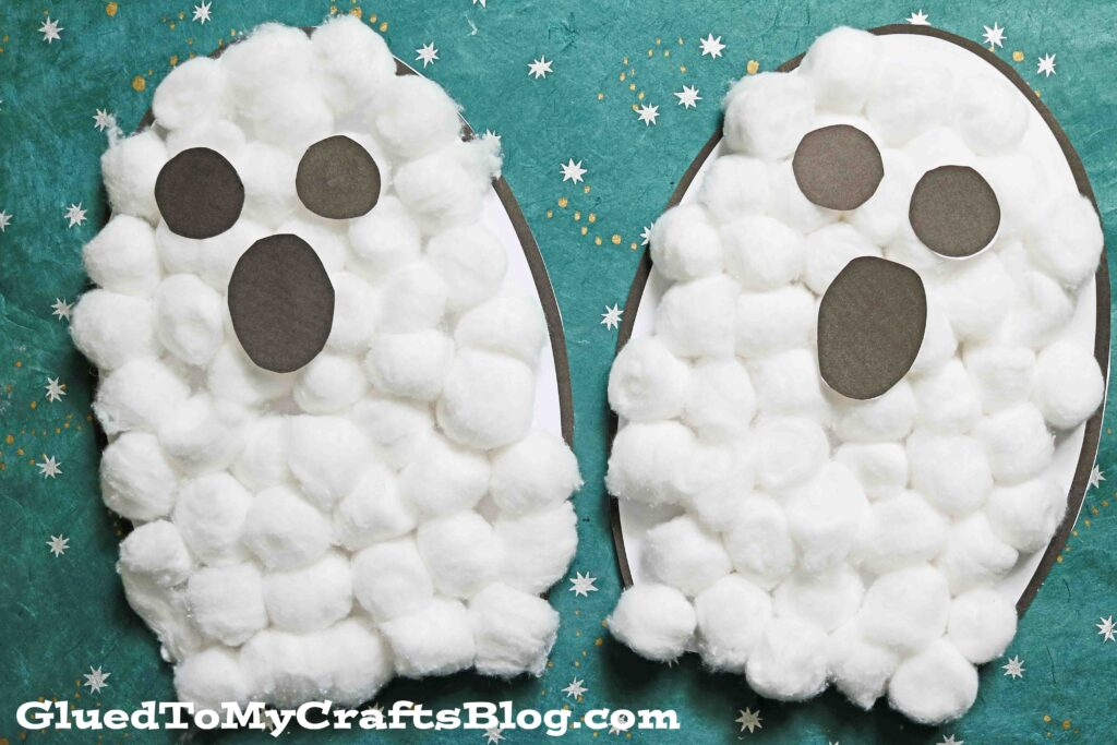 Cotton Ball Ghost - Kid Craft w/free printable template