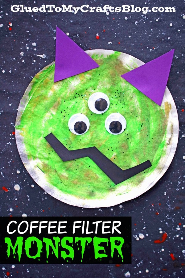 Cute NOT Scary Coffee Filter Monsters Craft Idea For Kids
