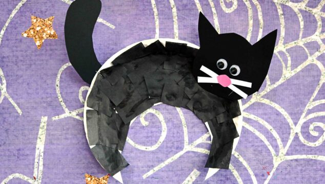 Paper Plate Black Cat - Halloween Kid Craft Idea