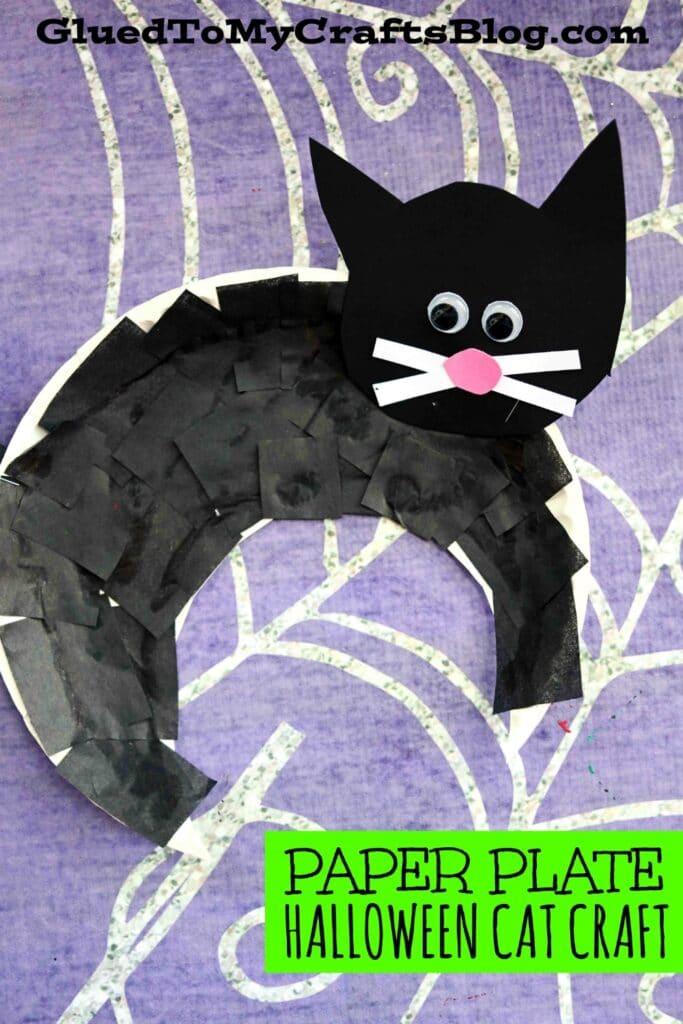 Paper Plate Black Cat - Halloween Kid Craft Idea