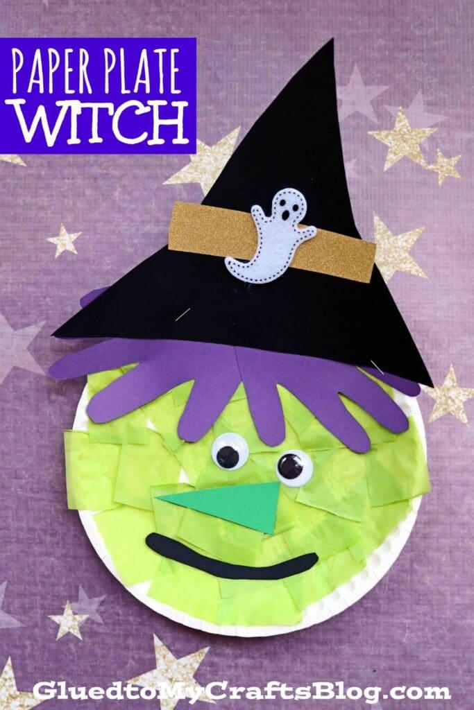 Paper Plate Halloween Witch - Kid Craft Idea