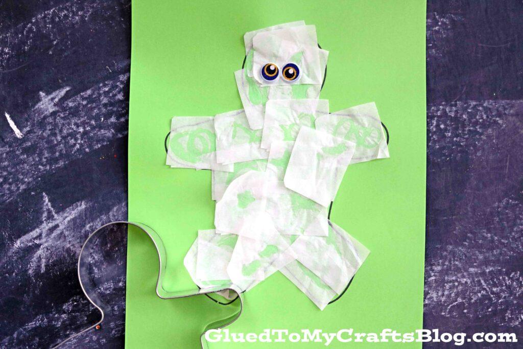 Tissue Paper Mummy - Halloween Kid Craft Idea
