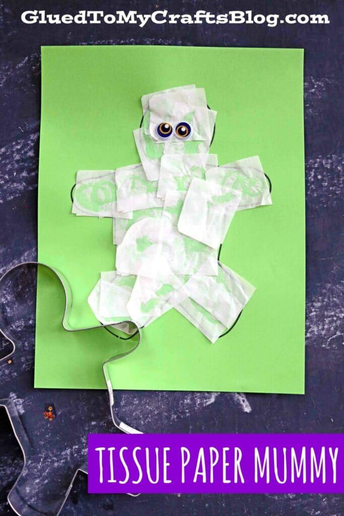Super EASY Tissue Paper Mummy - Halloween Kid Craft Idea
