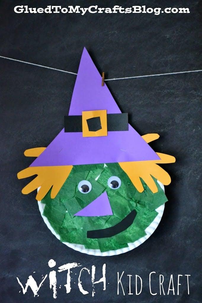 Paper Plate Green Witch - Halloween Kid Craft Idea