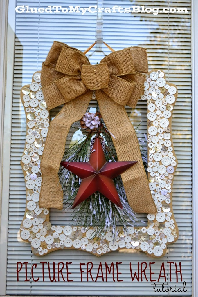 Button Covered Picture Frame Wreath - DIY Christmas Craft