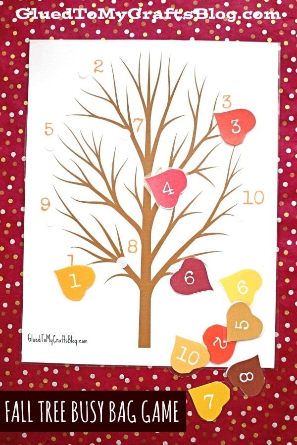 Fall Tree & Leaves Busy Bag Idea