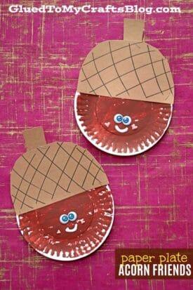 Paper Plate Acorn Friend {Kid Craft}