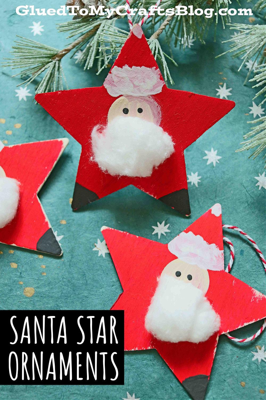 DIY Wood Santa Star Ornament - Christmas Kid Craft Idea